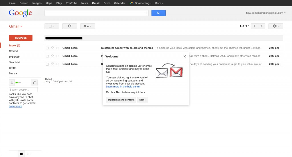 Step four of four to setup a Gmail account