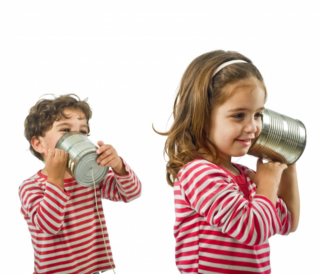 Kids Talking on Tin Phone